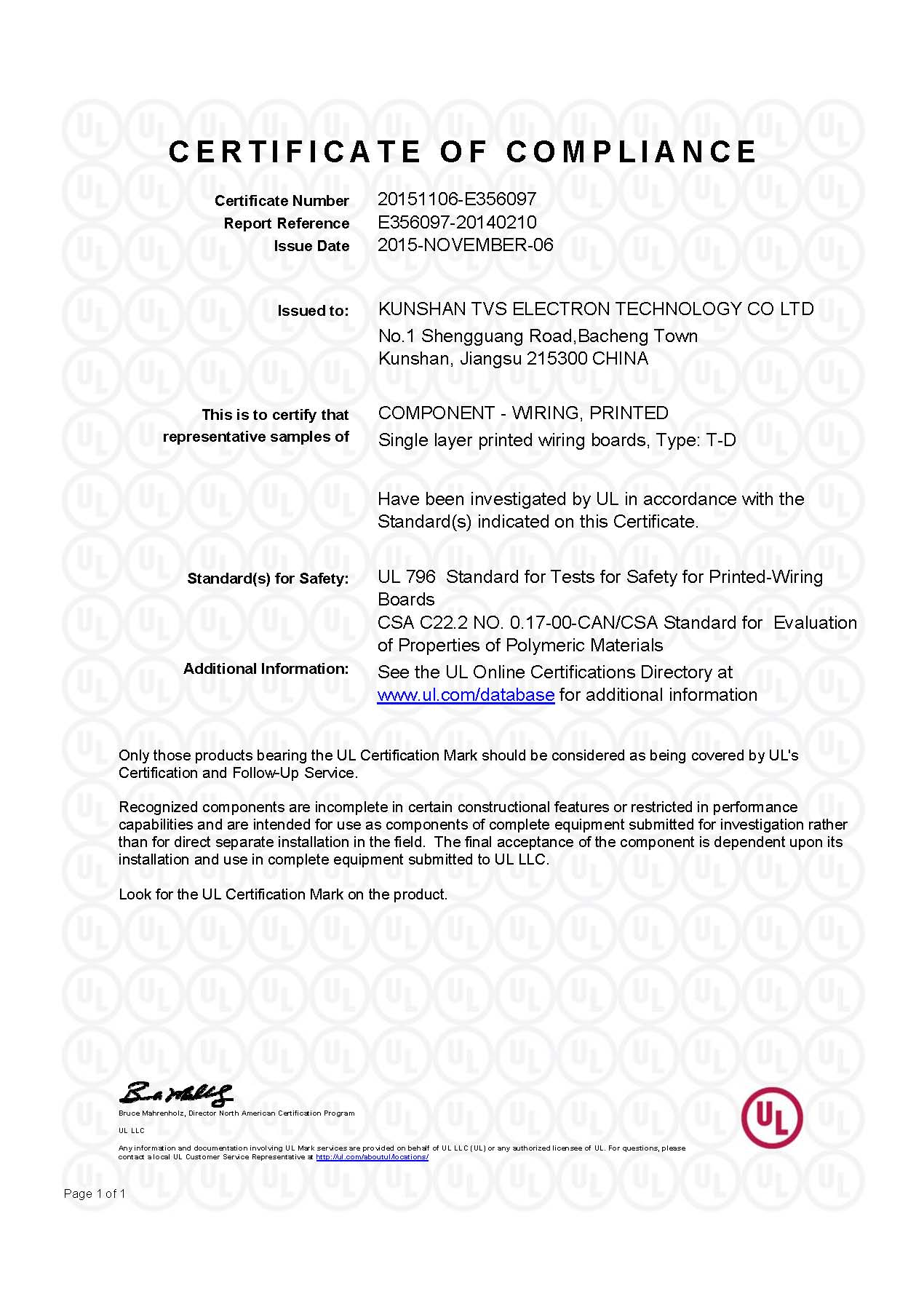 Certifications attained by kunshan hpcb electronic coltd certificate standardul xflitez Gallery