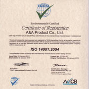A&A Product Manufacturing Ltd - Our ISO 9001:2008 and ISO 14001:2004 certificates