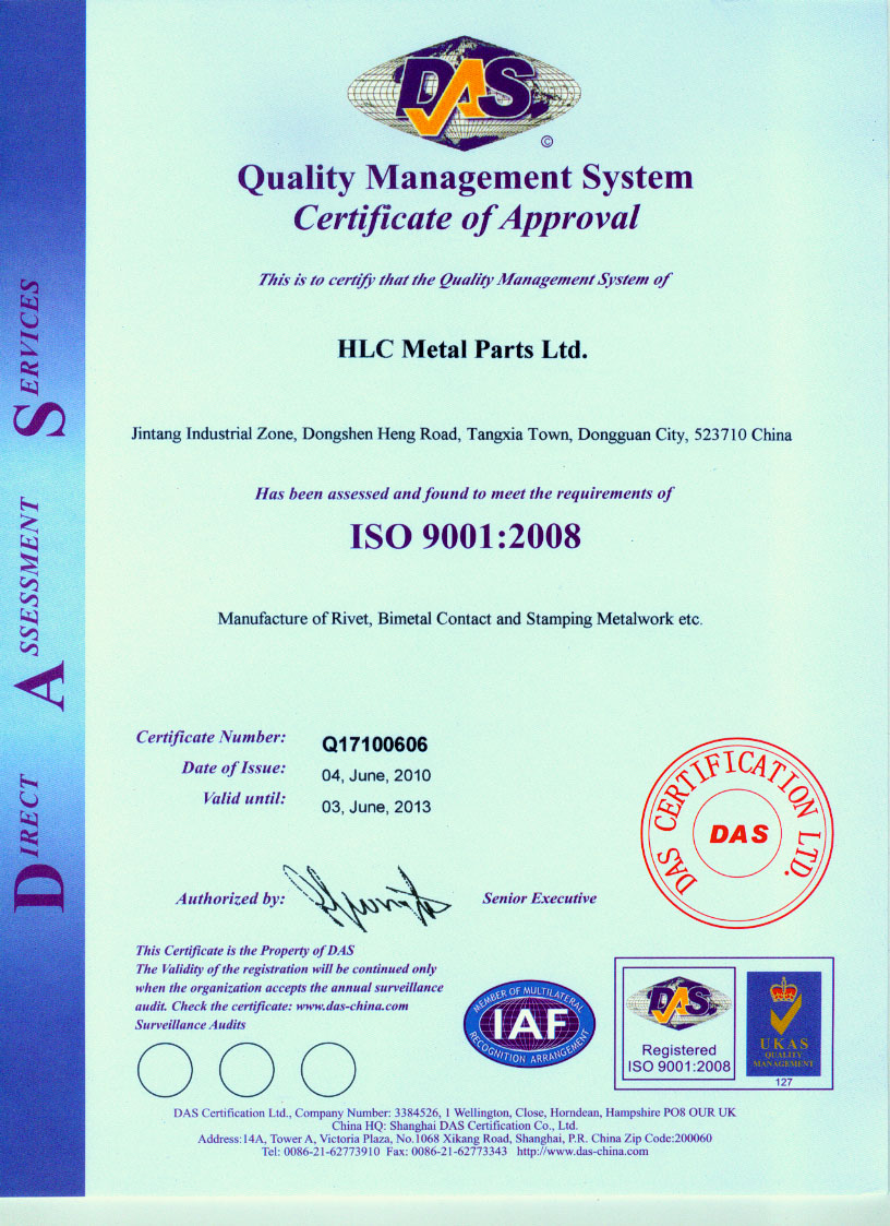 Hunan HLC Metal Technology Ltd - Our ISO 9001:2008 certificate