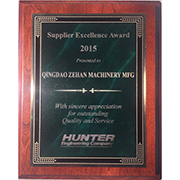 Qingdao Zehan Machinery Manufacturing Co. Ltd - Our Supplier Excellence Award