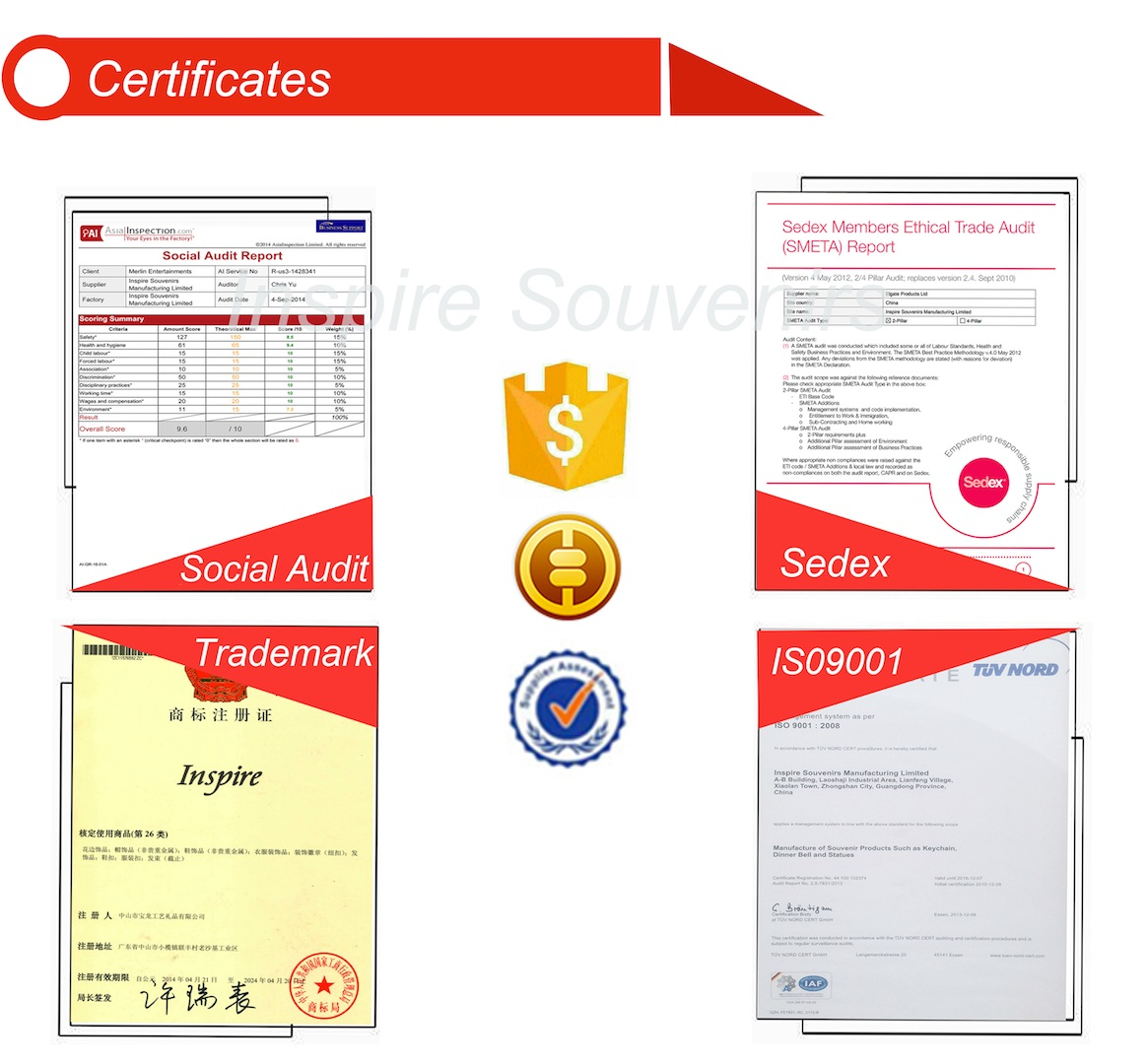 Inspire Souvenirs Manufacturing Ltd - Certification of our company