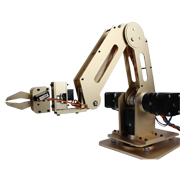 Desktop robotic arm controlled via voice, gestures