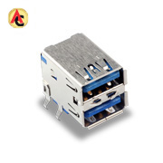 Dual-stacked USB 3.0 female connector
