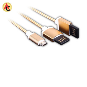 USB 2.0 cable with double reversible plugs