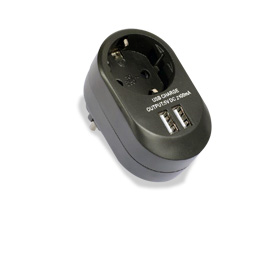 Travel adapter has CE, GS marks