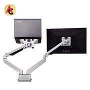 Dual-LCD monitor arm swivels 90 degrees