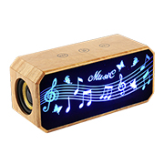 Wooden LED Bluetooth speaker displays musical notes