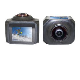 Action camcorder takes panoramic videos