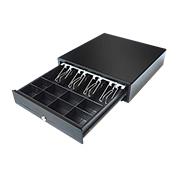 Metal cash drawer has ball-bearing slides