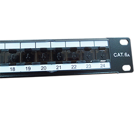 Shielded Cat 6A patch panel with 24 ports