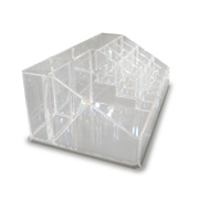 Acrylic cosmetic display has 16 compartments