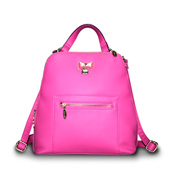 PU leather handbag doubles as backpack