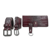 PU leather couple's belts come with PU purse