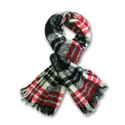 Woven acrylic scarf has wool, cashmere hand