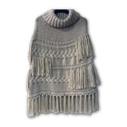 Machine-knitted acrylic cable shawl poncho