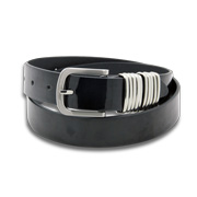 PU leather belt has polished metal loop