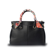 PU leather handbag has silk-wrapped handles