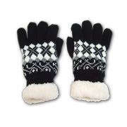 Touchscreen gloves trimmed with faux fur
