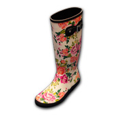 Floral-printed rubber rain boots