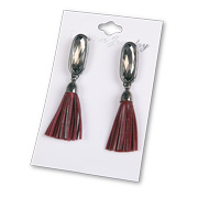Earrings adorned with red PU leather tassels