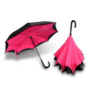 Inverted umbrella prevents splashes, drenching