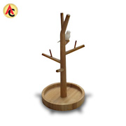 Tree-shaped bamboo jewelry organizer