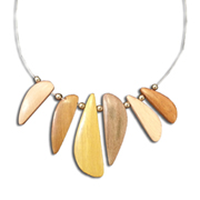 Statement necklace uses six wood species