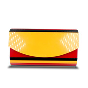 Envelope clutch has multicolor acrylic shell
