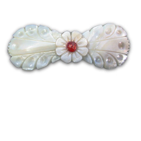 Handcarved floral shell hair clip