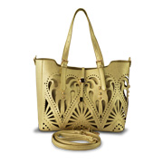 Handbag with laser-cut hollow-out design