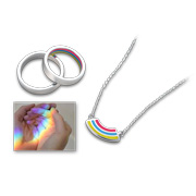 Necklace features enamel prism pendant