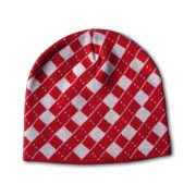 Checkered knitted hat in pure acrylic