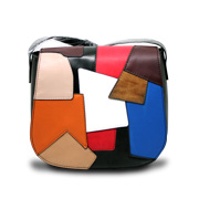 Shoulder bag features splice patchwork