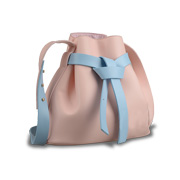 PU leather bucket bag with spliced strap