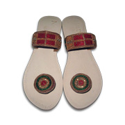 79eb19d0c0b3 Khagol Leather Craft s KLC-01 model is a pair of slip-on women s sandals  adorned with handcrafted multicolor glass beads and stones.
