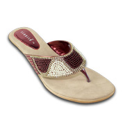 Beaded women's sandals have satin uppers