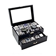 Caddy Bay Collection Black Clic Watch Case With Clear Gl Top