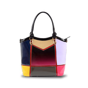 PU handbag has multicolor splice grafting