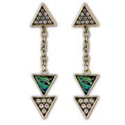 Triangular drop earrings trimmed with marble