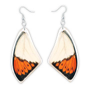Drop earrings with resin-set butterfly wings