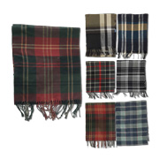Warmth-retentive men's plaid woven scarf