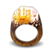 Preserved flower fashion ring