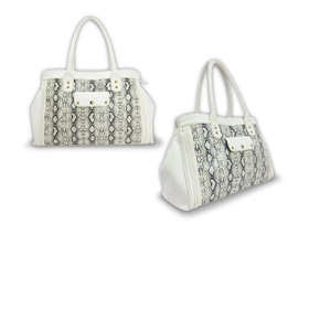 Women's handbag with snakeskin print