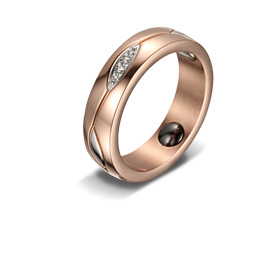 Stainless steel magnetic fashion ring