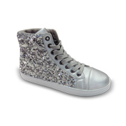 Sneakers adorned with silver sequins
