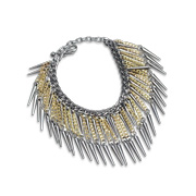 Statement necklace with spike fringes