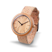 Fashion watch made of bamboo, cork