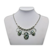 Statement necklace has opal pendants