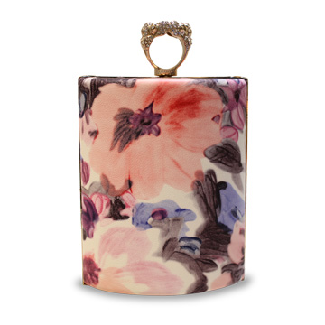 Floral-printed PU leather evening bag