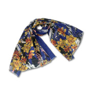 Polyester scarf with colorful floral print